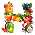 Letter H Composed Of Different Fruits With Leaves Royalty Free Stock Photo - 50827045