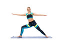 Pretty Girl Engaged In Aerobics On Mat Royalty Free Stock Image - 50830416