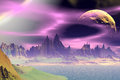 3D Rendered Fantasy Alien Planet. Rocks And  Moon Royalty Free Stock Photo - 50830785