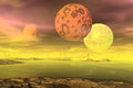 3D Rendered Fantasy Alien Planet. Rocks And  Moon Royalty Free Stock Photography - 50831017