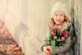 Spring Vintage Tones Portrait Of Happy Child Girl With Tulips Bouquet For Woman S Day Royalty Free Stock Photo - 50833265