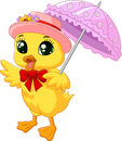 Cute Cartoon Duck With Pink Umbrella Royalty Free Stock Images - 50839829
