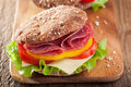 Healthy Sandwich With Salami Tomato Pepper And Lettuce Royalty Free Stock Image - 50856966