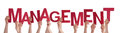 Many People Hands Holding Red Word Management Royalty Free Stock Image - 50862176