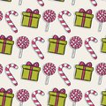 Vector Christmas Pattern With Pink Candy And Stock Photography - 50867542