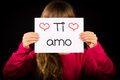 Child Holding Sign With Italian Words Ti Amo - I Love You Royalty Free Stock Photography - 50872917