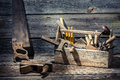 Worn Carpenter Tools In A Wooden Box Stock Photos - 50873723