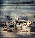 Old Carpenter Tools In A Wooden Box Royalty Free Stock Photos - 50873908