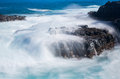 Raging Sea Flows Over Lave Rocks On Shore Line Stock Image - 50876951