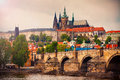 Saint Vitus Cathedral And Charles Bridge In Prague Royalty Free Stock Photography - 50884937