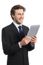 Happy Business Man Holding A Tablet Reader Stock Photos - 50891263