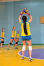 Women S Volleyball Match Between The Amateur Teams Lightning Impulse Dnepropetrovsk City Ukraine February Royalty Free Stock Photography - 50895907