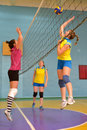 Women S Volleyball Match Between The Amateur Teams Lightning Impulse Dnepropetrovsk City Ukraine February Royalty Free Stock Image - 50896046