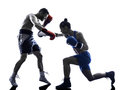 Woman Boxer Boxing Man Kickboxing Silhouette Isolated Royalty Free Stock Photos - 50897308