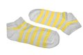 Pair Neon Yellow  And White Striped Ladies Socks Stock Photography - 50901082