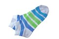 Pair Green And Blue Striped Ladies Socks Royalty Free Stock Images - 50901149