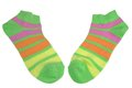 Pair Green, Orange, Yellow And Violet Striped Ladies Socks Royalty Free Stock Photo - 50901325