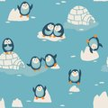 Seamless Pattern With Little Cute Penguins Royalty Free Stock Photography - 50923257