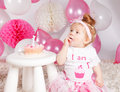 Cute Baby Eating The Birthday Cake Stock Images - 50926214