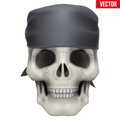 Vector Human Skull With Bandana On Head Royalty Free Stock Images - 50932589