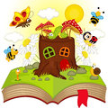 Open Book With House Stump And Insects Royalty Free Stock Photos - 50957278