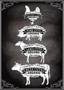 Diagram Cut Carcasses Of Chicken, Pig, Cow, Lamb Royalty Free Stock Images - 50957459