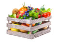 Fruits, Vegetables In Wooden Box Royalty Free Stock Photography - 50962727