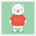 Vector Vector Cute Happy Flat Wild Animal Bear In Orange Sweater With White Pattern Stock Photography - 50976572