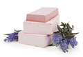 Soap And Lavender Flowers Isolated On White Background Royalty Free Stock Photo - 50978015