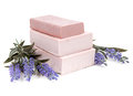 Soap And Lavender Flowers Isolated On White Background Royalty Free Stock Image - 50978076