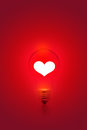 White Heart Shape On Red Light Bulb Background, Blank Text Stock Images - 50988334