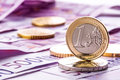 Several 500 Euro Banknotes And Coins Are Adjacent. Symbolic Photo For Wealt. Royalty Free Stock Photos - 50999788