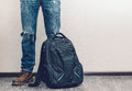 Man In Jeans With Backpack Royalty Free Stock Images - 50999819