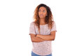Portrait Of A Thoughtful Young African American Woman With Cross Stock Images - 51004634