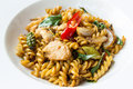 Stir Fried Spicy Fusilli With Pork Royalty Free Stock Photos - 51013998
