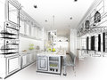 Abstract Sketch Design Of Interior Kitchen Royalty Free Stock Photo - 51015215