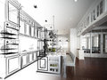 Abstract Sketch Design Of Interior Kitchen Royalty Free Stock Image - 51015946