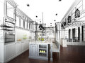 Abstract Sketch Design Of Interior Kitchen Stock Photo - 51016120