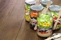 Salad In Glass Jar Royalty Free Stock Photo - 51031385