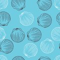 Seamless Hand Drawn Texture Of Shells. Vector Royalty Free Stock Photo - 51034735