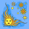 Fantasy Hand Drawn Sun Over White. Vector Royalty Free Stock Images - 51034929