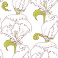 Abstract Outline Floral Seamless Pattern With Hand Drawn Flowers Stock Photography - 51042222