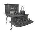 Large Old Cast Iron Stove Isolated. Royalty Free Stock Images - 51042399