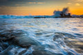 Rocks And Waves In The Pacific Ocean At Sunset  Royalty Free Stock Photo - 51045855