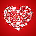 Heart With Holiday Icons Royalty Free Stock Images - 51058999