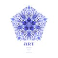 Abstract Vector Floral Ornamental Border. Lace Pattern Design. Watercolor Ornament On Blue Background. Vector Ornamental Border Fr Royalty Free Stock Photography - 51059907