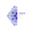 Abstract Vector Floral Ornamental Border. Lace Pattern Design. Watercolor Ornament On Blue Background. Vector Ornamental Border Fr Stock Image - 51059911