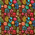 Vector Pattern With Flowers And Plants. Floral Decor. Original Floral Seamless Background. Bright Colors Watercolor, Autumn-summer Royalty Free Stock Images - 51060019
