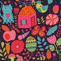 Vector Seamless Pattern, Doodling Design. Hand Draw Flowers And Leafs. Kids Illustration, Cute Background. Color Doodle Background Stock Images - 51060214