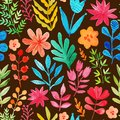 Vector Pattern With Flowers And Plants. Floral Decor. Original Floral Seamless Background. Bright Colors Watercolor, Autumn-summer Royalty Free Stock Photography - 51060567